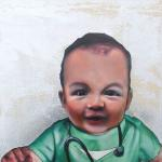 Baby Doc  Mixed media on canvas 10 x 10